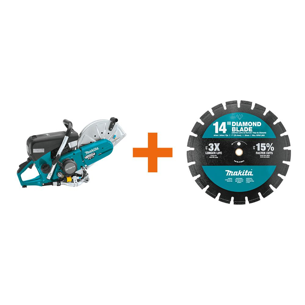 Makita 4-Stroke (MM4) 14 inch 76cc Gas Saw w/ bonus 14 inch Segmented Rim Dual Purpose Diamond Blade