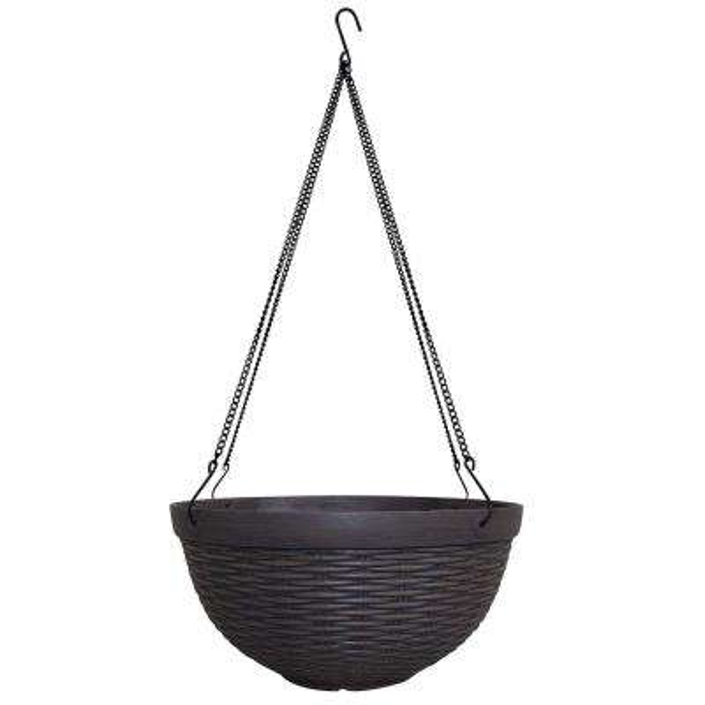Jamaica Wicker 12 in. Dia Dark Coffee Resin Hanging Basket