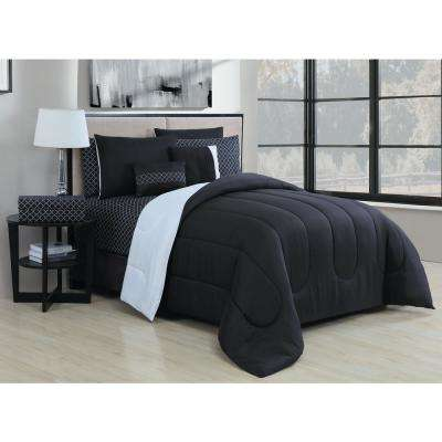 Solid 9-Piece Black/White Queen Bed in a Bag
