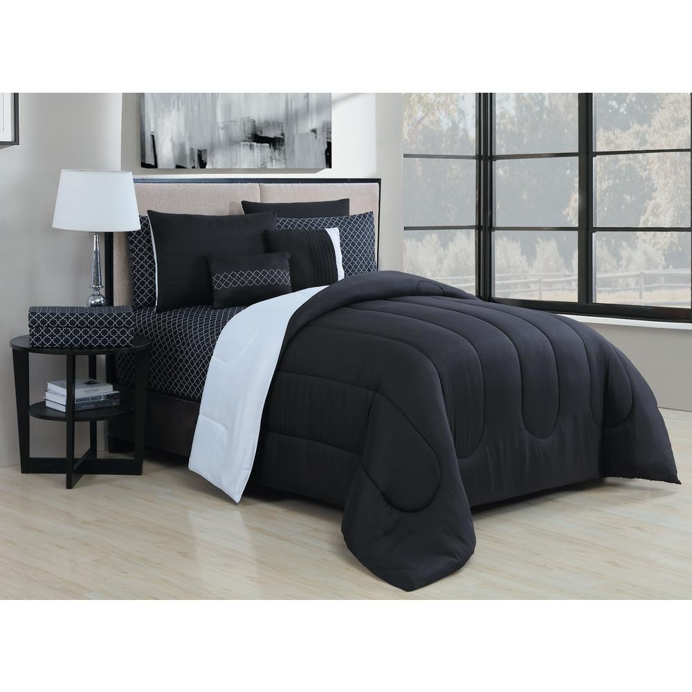 Geneva Home Fashion Solid 9 Piece Blackwhite Queen Bed In A Bag