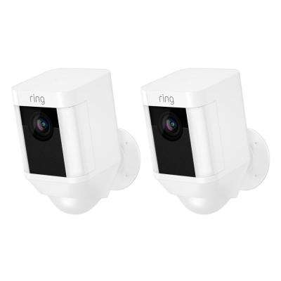 Spotlight Cam Battery Outdoor Rectangle Security Wireless Standard  Surveillance Camera in White (2-Pack)