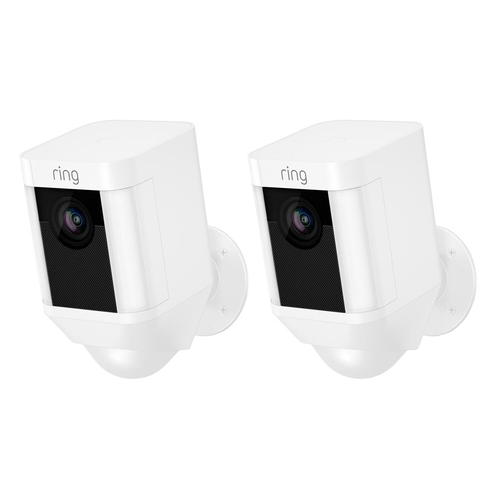 Ring Spotlight Cam Battery Outdoor Rectangle Security Wireless Standard Surveillance Camera in White (2-Pack)