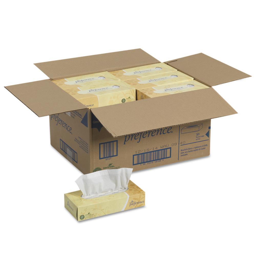 Preference 2-Ply Facial Tissue by GP PRO 30 Boxes Per Case 100 Sheets Per Box Georgia-Pacific 48100 Flat Box