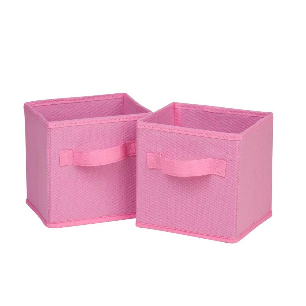 Honey-Can-Do 4.9 Qt. Mini Non-Woven Foldable Cube Bin in Pink (6-Pack)