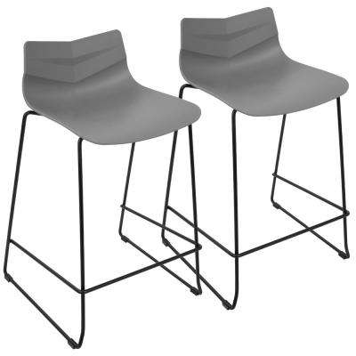 Arrow 25 in. Black and Grey Stackable Counter Stool (Set of 2)