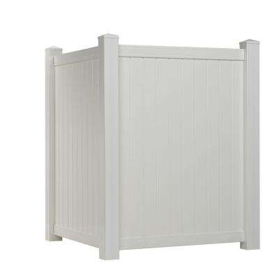 4 ft. H x 3.5 ft. W White Vinyl Privacy Corner Accent Fence Panel Kit