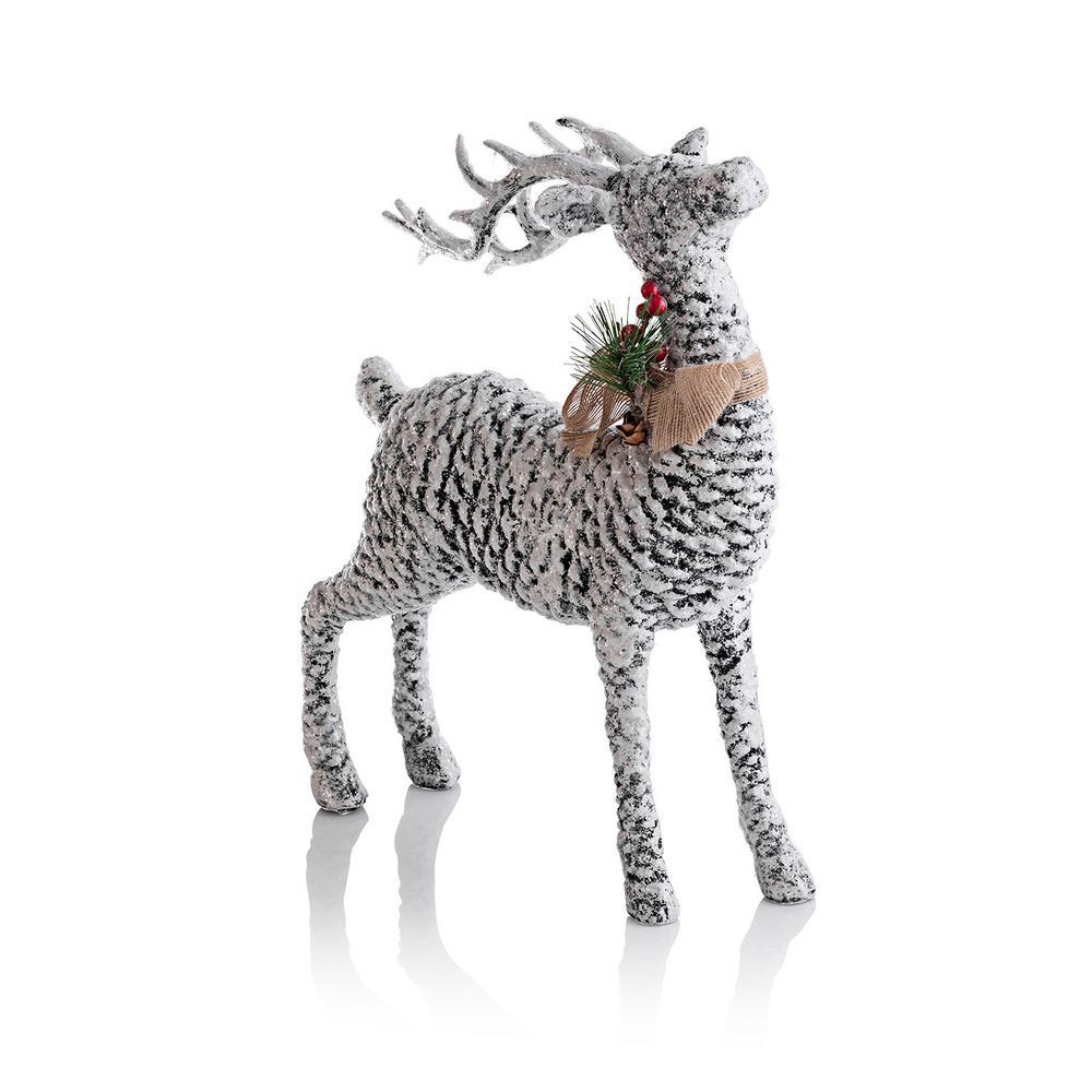 Alpine Corporation Pinecone Reindeer Christmas Décor, Indoor Festive Holiday Accessory