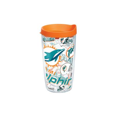 NFL Miami Dolphins All Over 16 oz. Double Walled Insulated Tumbler with Travel Lid
