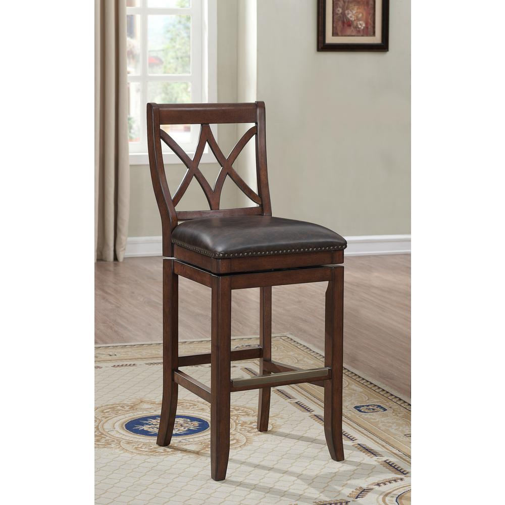 American Heritage Billiards Hadley 30 In. Sable Swivel Cushioned Bar Stool