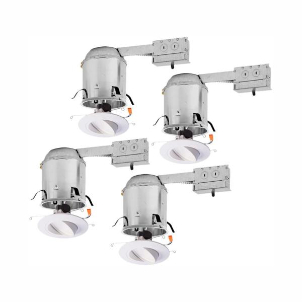 RA 6 in. Remodel Ceiling Housing and Dimmable White Integrated LED Recessed Light Spotlight Kit, T24 Rated, (4-Pack)