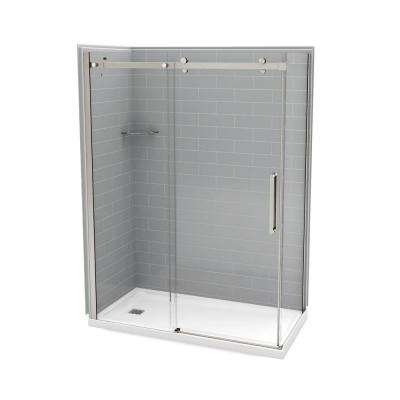 Utile Metro 32 in. x 60 in. x 83.5 in. Left Drain Corner Shower Kit in Ash Grey with Brushed Nickel Shower Door