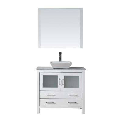 Dior 36 in. W x 18.3 in. D Vanity in White with Marble Vanity Top in Carrara White with White Basin and Mirror