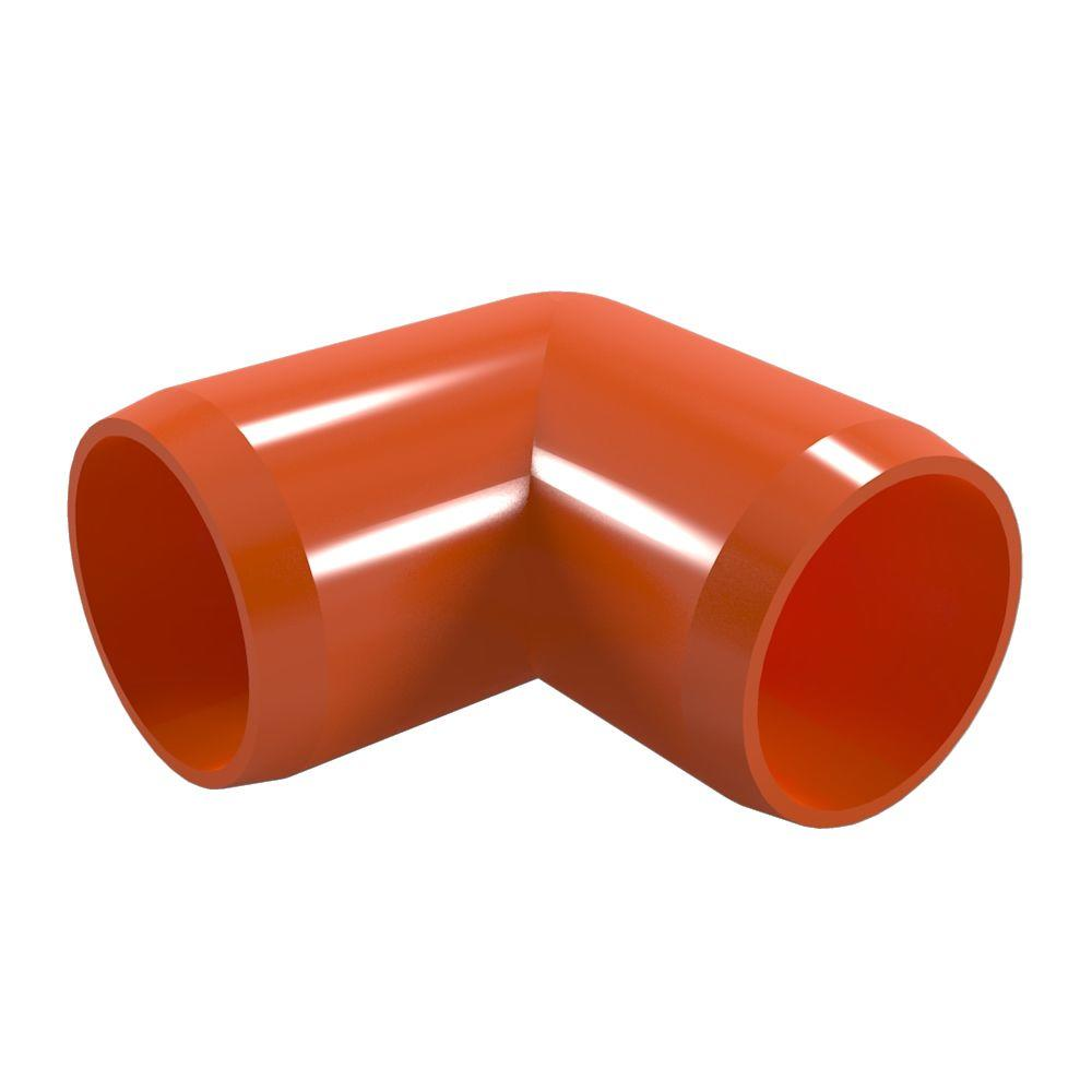 1/2 in. Furniture Grade PVC 90-Degree Elbow in Orange (10-Pack)
