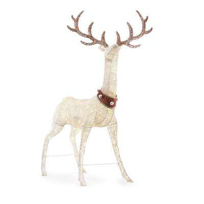 Christmas 320-Light LED White PVC Standing Deer with Jingle Bell Collar