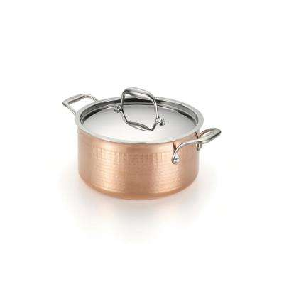 Martellata 5 Qt. Hammered Copper Tri-Ply Stewpot with Lid