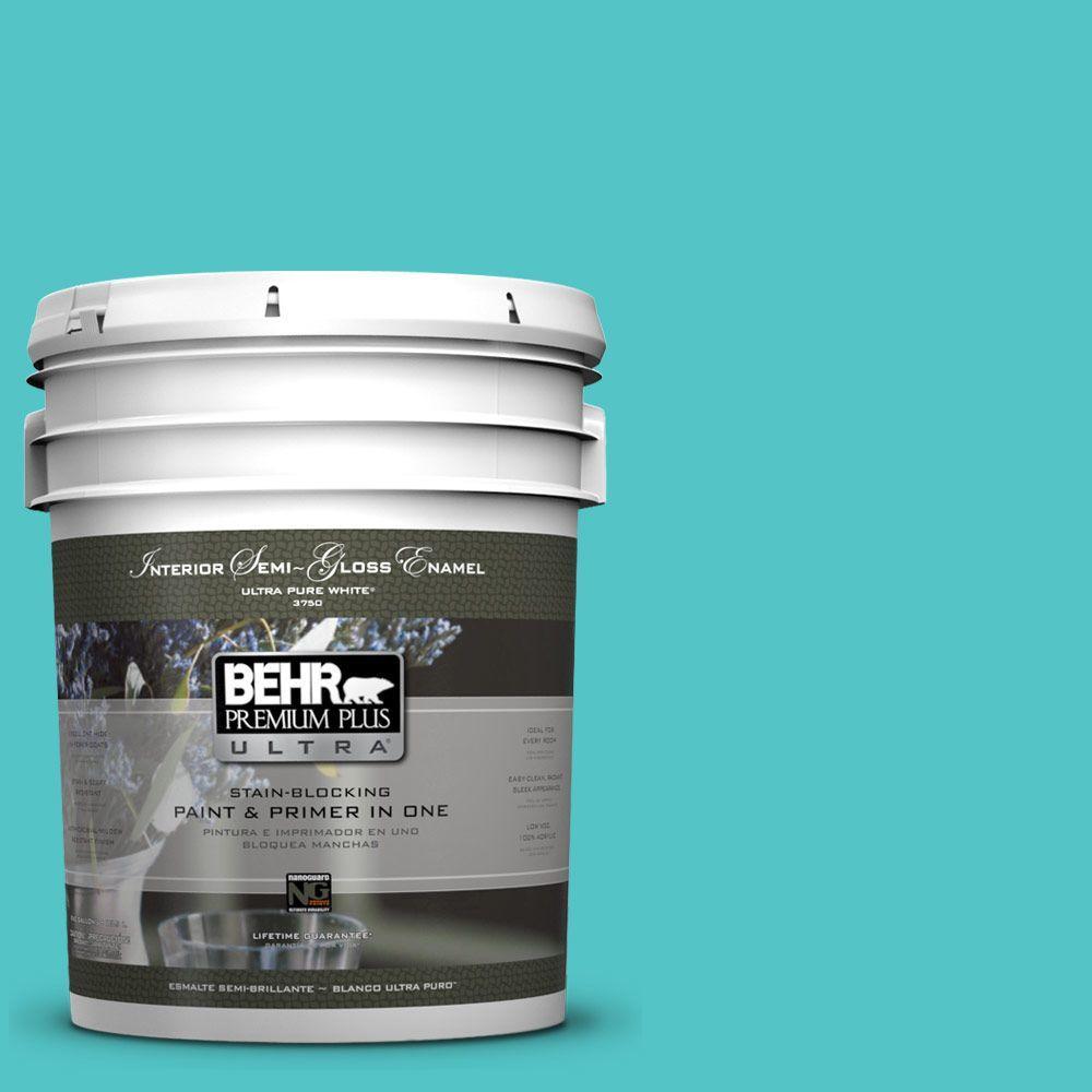 5-gal. #500B-4 Gem Turquoise Semi-Gloss Enamel Interior Paint