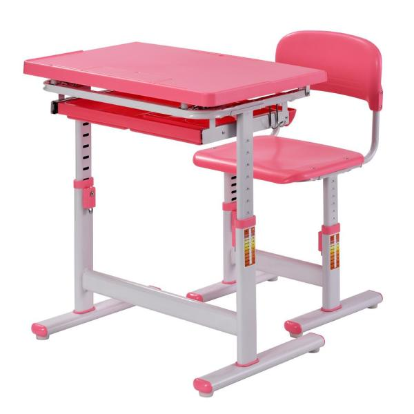 Muscle Rack 2-Piece Pink Ergonomic Adjustable Kids Standing Desk and Chair