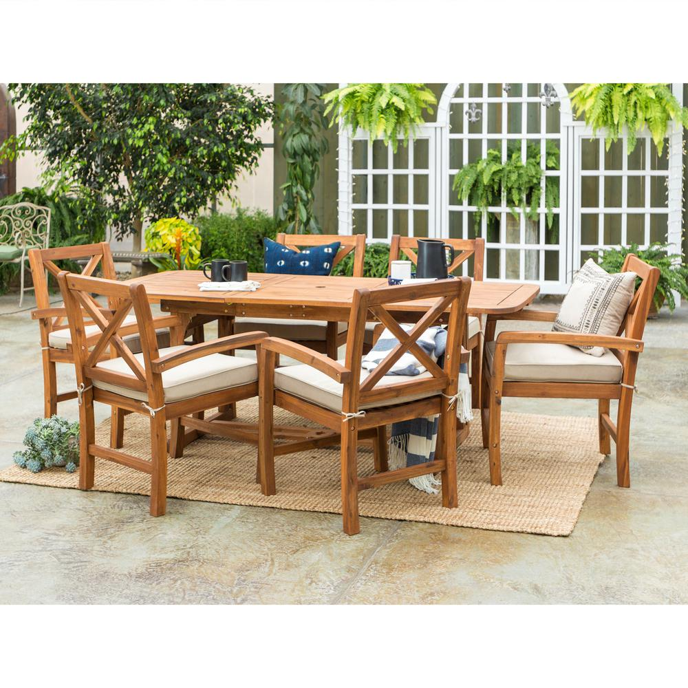 Walker Edison Furniture Company 7-Piece Brown Outdoor