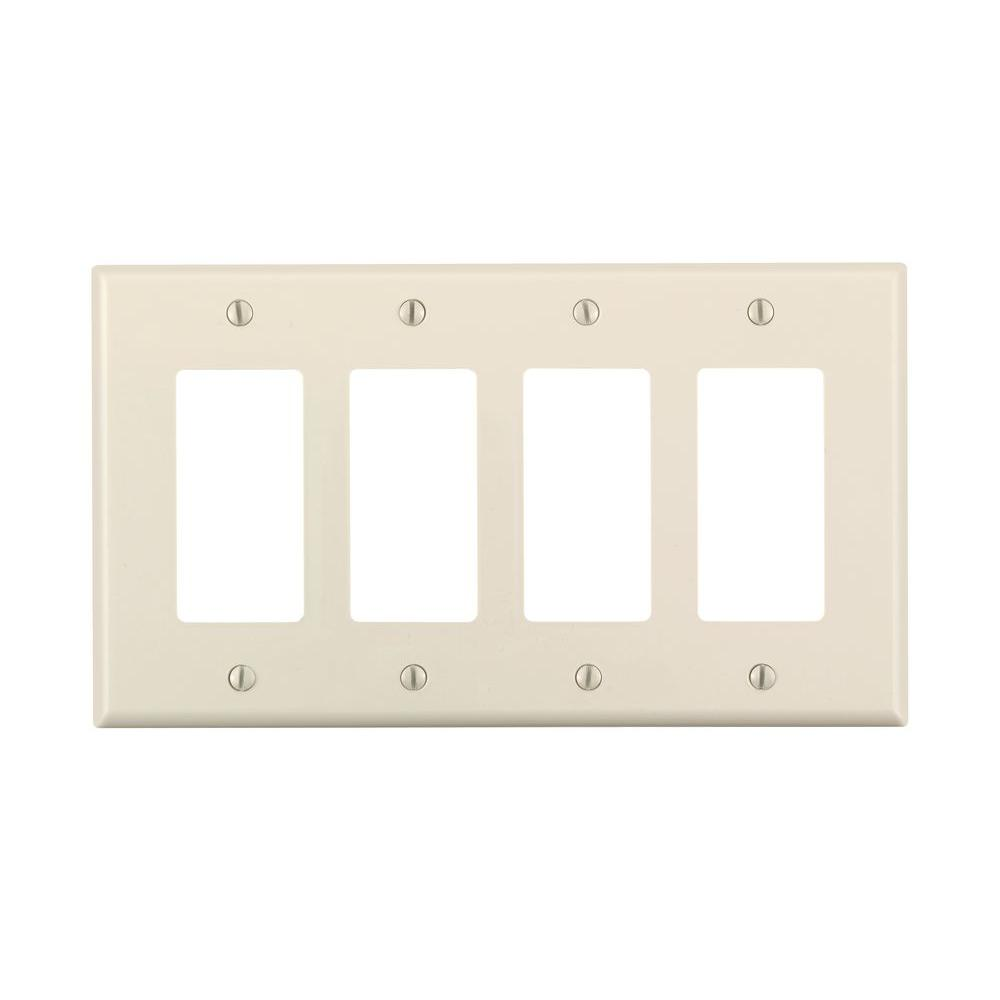Leviton Decora 4 Gang Midway Nylon Wall Plate Light Almond R56