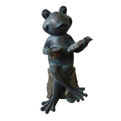 16 in. Tall Frog Reading Book Statue