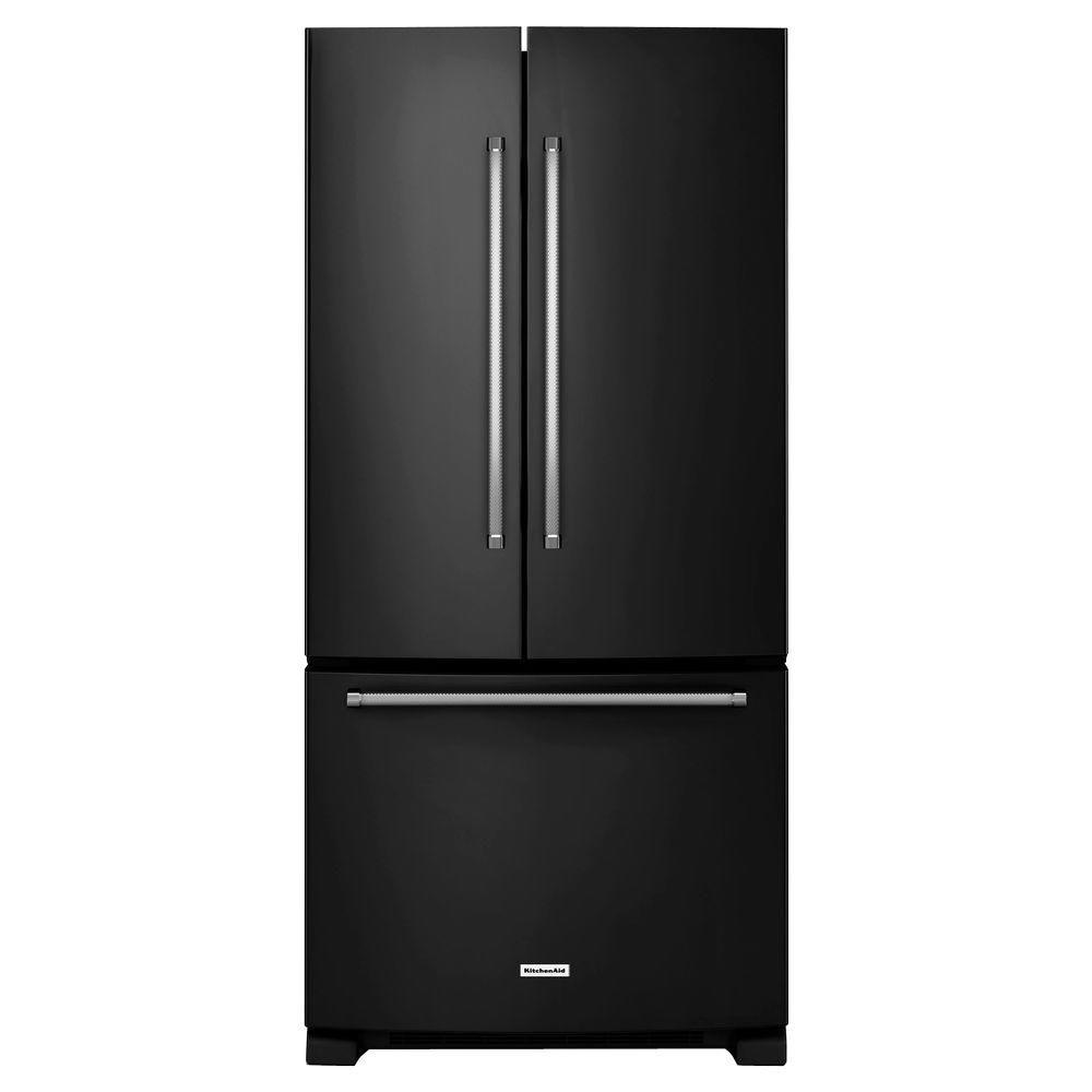 Kitchenaid 33 In W 22 1 Cu Ft French Door Refrigerator Black