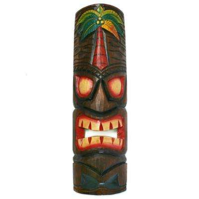 20 in. Tiki Mask Palm Tree Polynesian Wood Art Decoration
