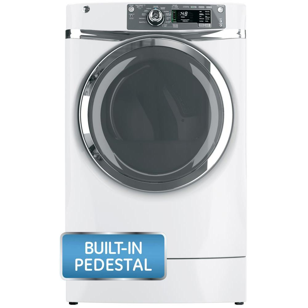 GE 8.3 cu. ft. Right Height Front Load Electric Dryer with Steam in White, Pedestal Included