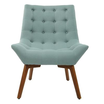 Shelly Sea Fabric with Coffee Legs Tufted Chair