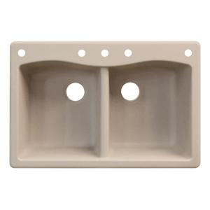 Exceptional 5 Hole Equal Double Bowl Kitchen Sink