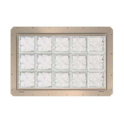 39.25 in. x 24.25 in. x 3.25 in. Wave Pattern Glass Block Window with Clay Colored Vinyl Nailing Fin