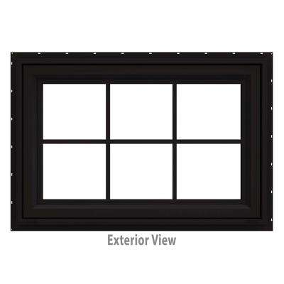 35.5 in. x 23.5 in. V-4500 Series Black Painted Vinyl Awning Window with Colonial Grids/Grilles