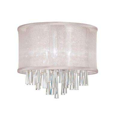 Josephine 3-Light Polished Chrome Crystal Flush Mount with Oyster Organza Drum Shade