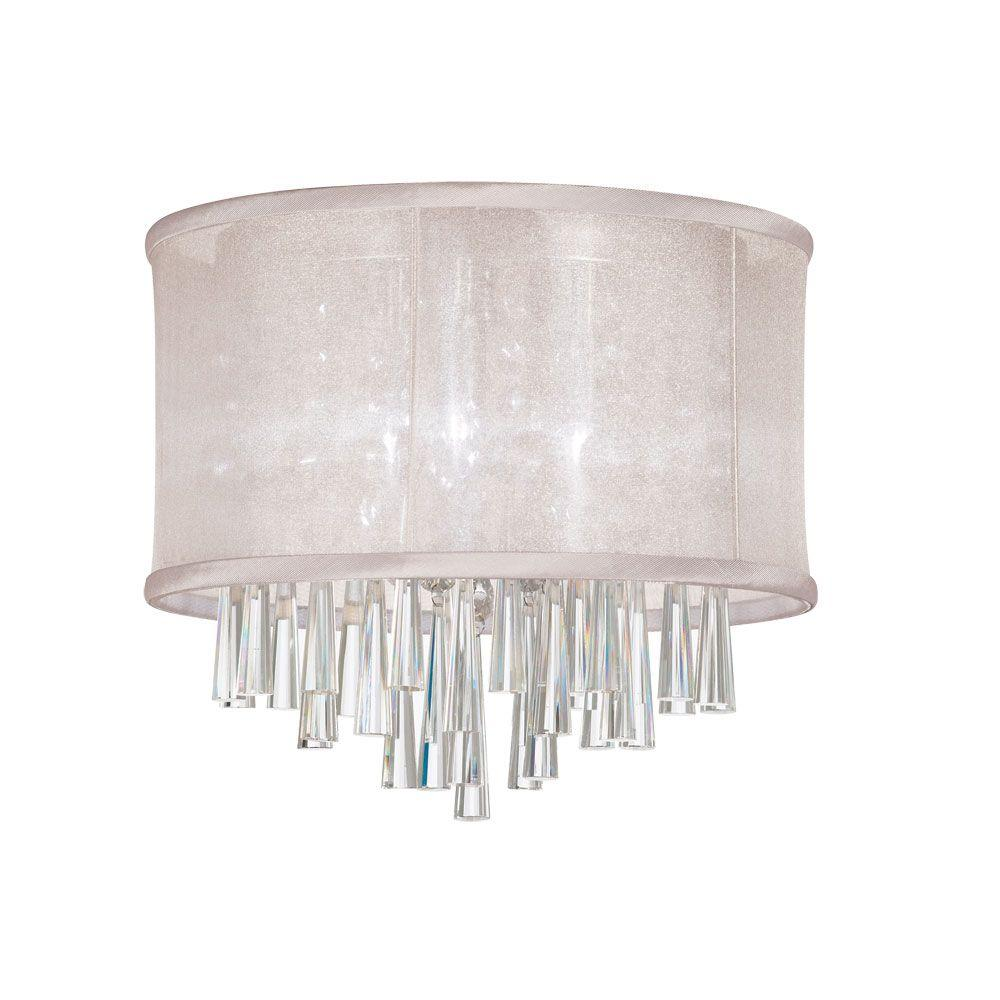 Josephine 3-Light Polished Chrome Crystal Flushmount with Oyster Organza Drum
