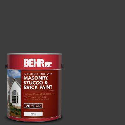 1 gal. #1350 Ultra Pure Black Satin Interior/Exterior Masonry, Stucco and Brick Paint
