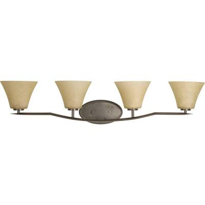 Bravo Collection 4-Light Antique Bronze Bathroom Vanity Light with Glass Shades
