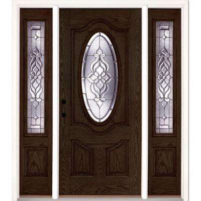 63.5 in.x81.625 in. Lakewood Zinc 3/4 Oval Lite Stained Walnut Oak Right-Hand Fiberglass Prehung Front Door w/ Sidelites