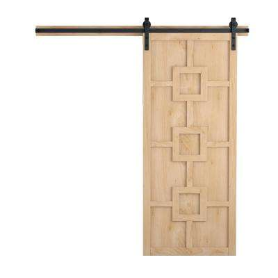 36 in. x 84 in. Mod Squad Unfinished Wood Barn Door with Sliding Door Hardware Kit