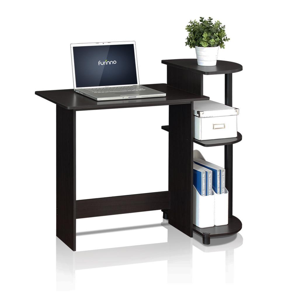 furinno compact espresso black computer desk 11181ex bk the home depot. Black Bedroom Furniture Sets. Home Design Ideas