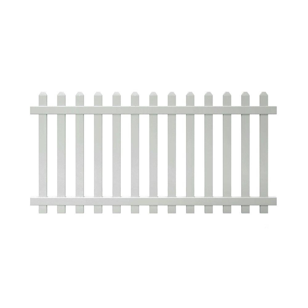 Veranda Glendale 4 ft. H x 8 ft. W White Vinyl Spaced Picket Unassembled Fence Panel with Dog Ear Pickets