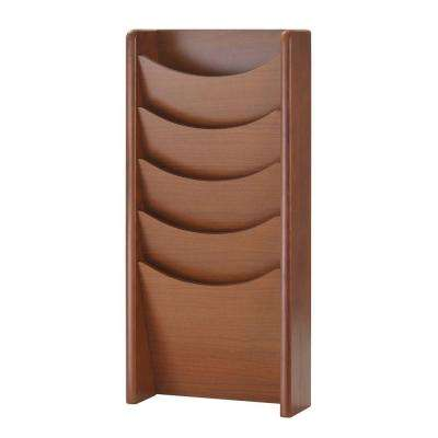 5-Pocket Solid Oak Literature Display Rack in Medium Cherry