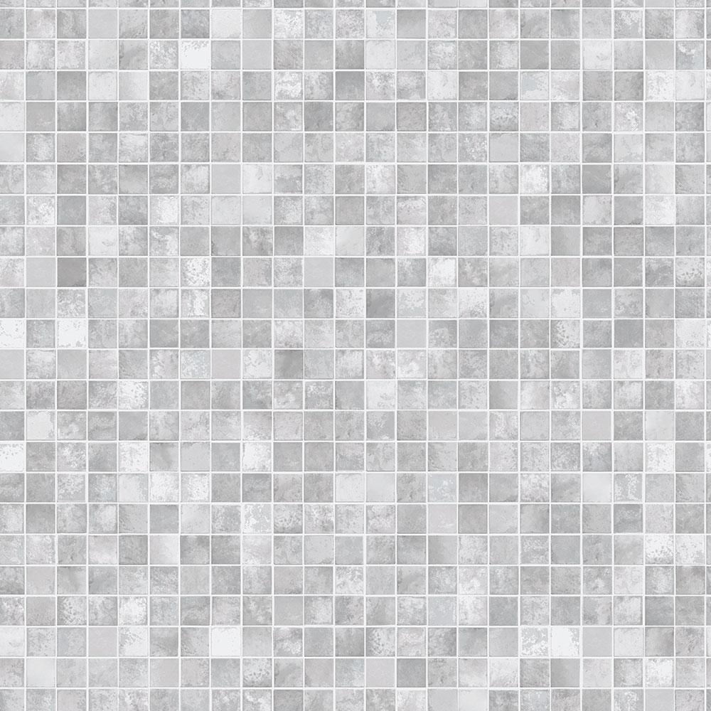 Mosaic Tiles Grey Peel and Stick Wallpaper 56 sq. ft.