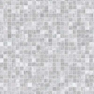 Mosaic Tiles Grey Vinyl Peelable Roll (Covers 56 sq. ft.)