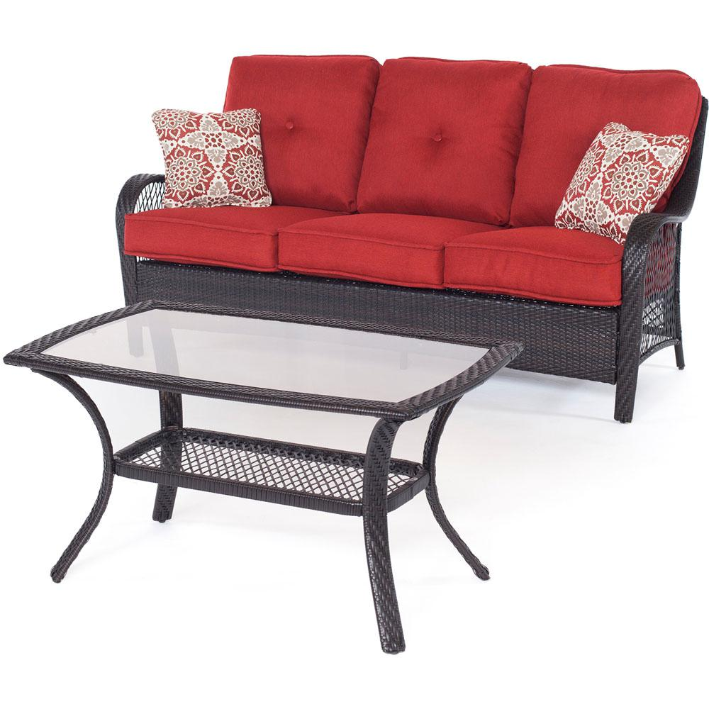 Orleans Brown 2-Piece All-Weather Wicker Patio Conversation Set with Autumn