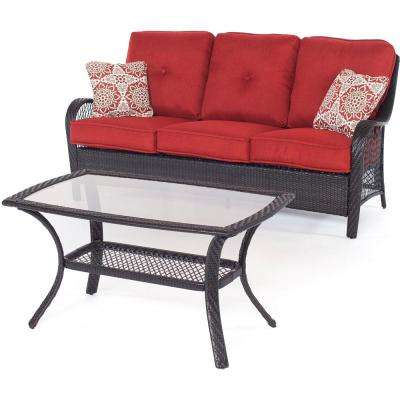 Orleans Brown 2-Piece All-Weather Wicker Patio Conversation Set with Autumn Berry Cushions