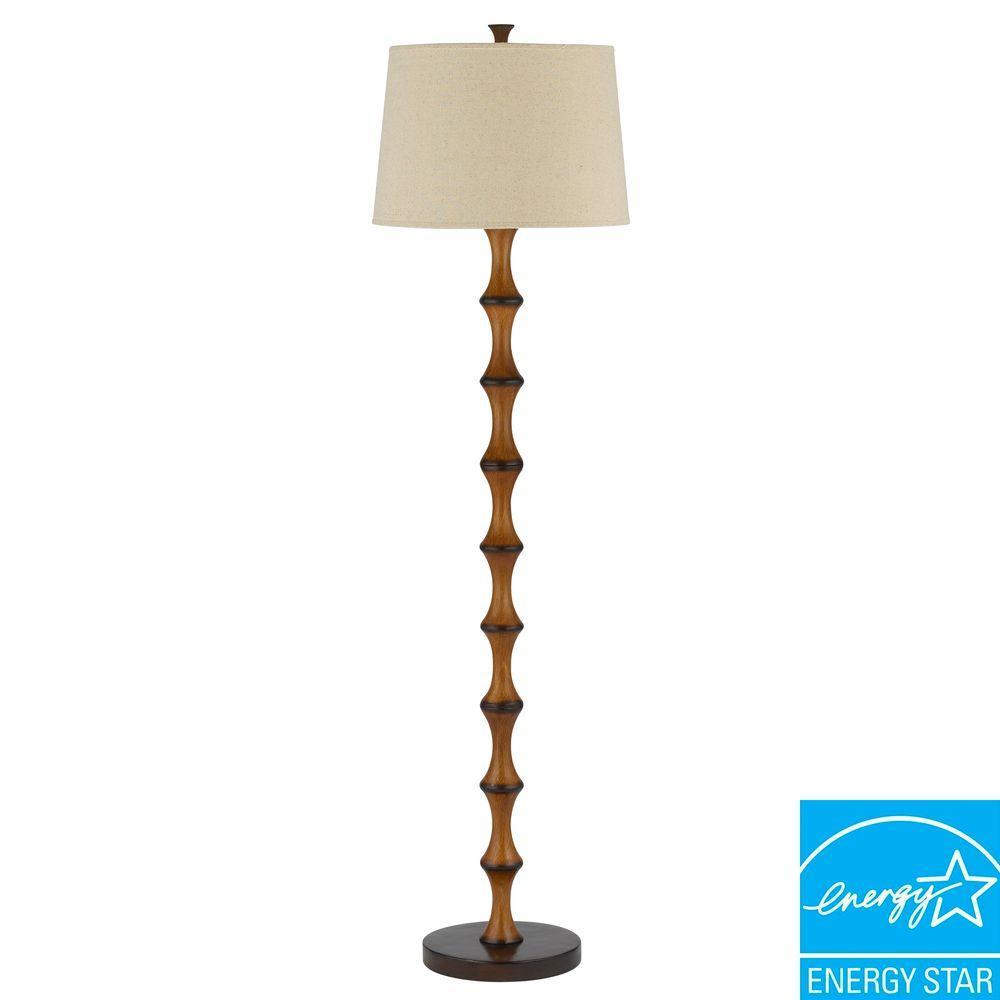 60 in. Brown Resin Bamboo Floor Lamp