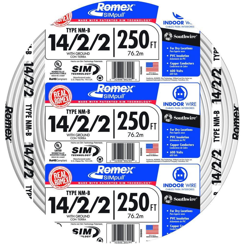 Southwire 250 ft. 14/2/2 Solid Romex SIMpull CU NM-B W/G Wire