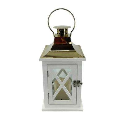 6 in. x 6 in. Gold Lantern with LED Candle