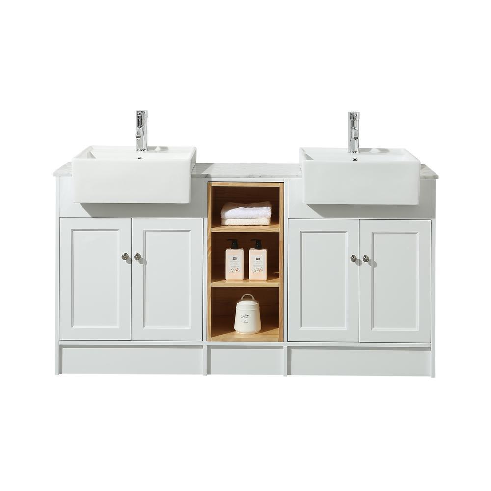 Zevan 59 in. Bath Vanity in White with White Marble Vanity Top in White with White Basin