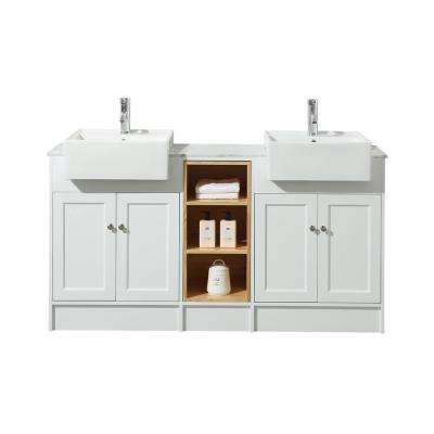 Zevan 59 in. Bath Vanity in White with White Marble Vanity Top in White with White Basin