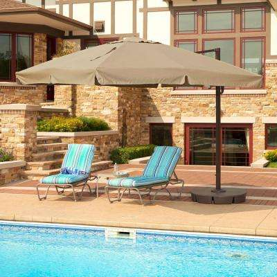 Santorini II 10 ft. Square Cantilever with Valance Patio Umbrella in Beige Sunbrella Acrylic